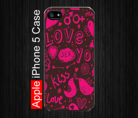 iPhone 5 Case,Kiss Love Pink, Black Case